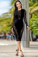 Women Black See Through Patchwork Party Dresses O-neck Backless Bodycon Vestidos Full Sleeve Night Club Dress Femme Rube Jupe