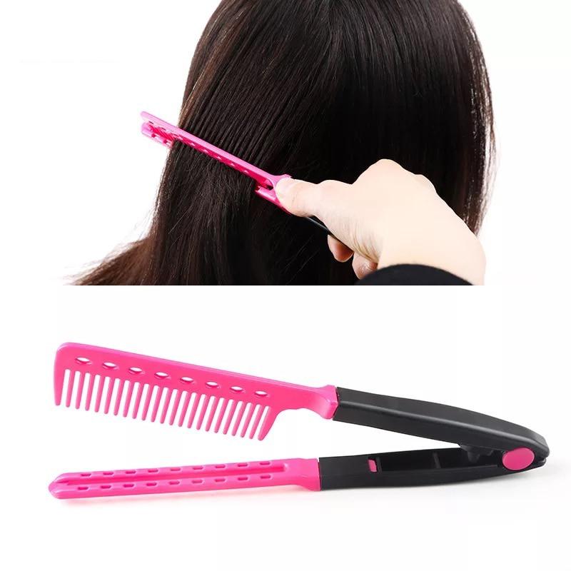 V Type Fashion Folding Hairbrush Hair Straightener Comb ...