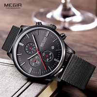Hot Sell MEGIR Fashion Luxury Casual Quartz Watches Men Waterproof Mesh Strap Band Watch Thin Dial