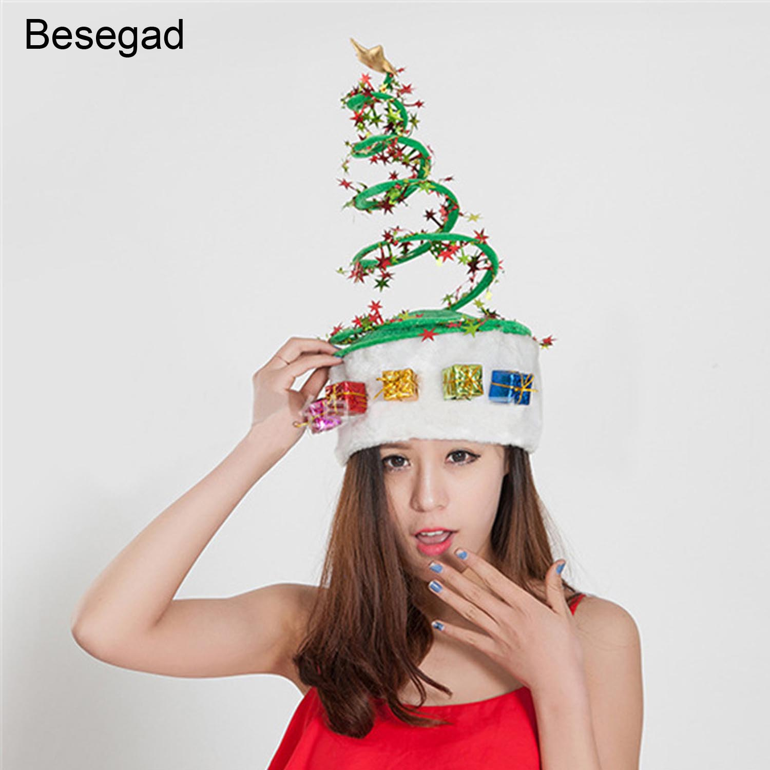 Funny Christmas Trees Party Hats Christmas Hats With Coil Spring For Xmas Holiday Festival Party Supplies