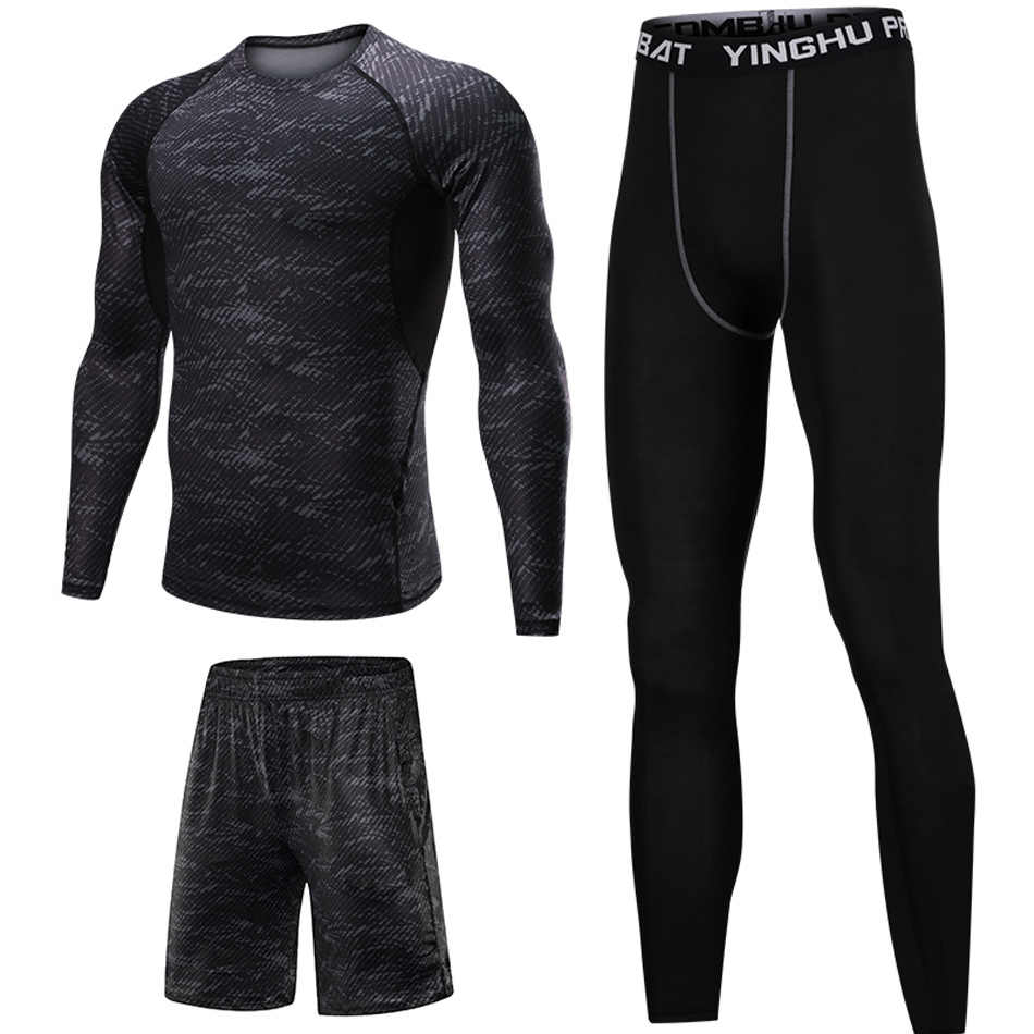 d56eaad3d401b ... 3 Pcs/Set Men Sports Suit Compression Underwear Outdoor Running Jogging  Clothes T Shirt Pants ...