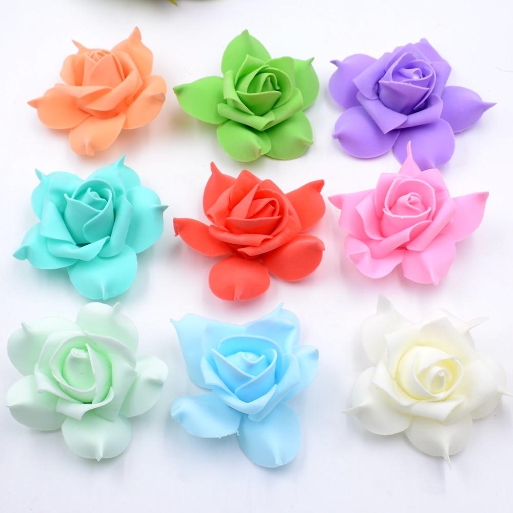 100 шт. пены Пентагон Роза Handmake искусственный цветок голову Свадебные украшения DIY ВЕНОК подарочной коробке Скрапбукинг Craft поддельные цветок