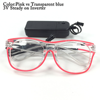 100pcs Double Color EL Wire Glowing Transparent Sunglasses with Steady on Inverter Festival Party DIY Decoration