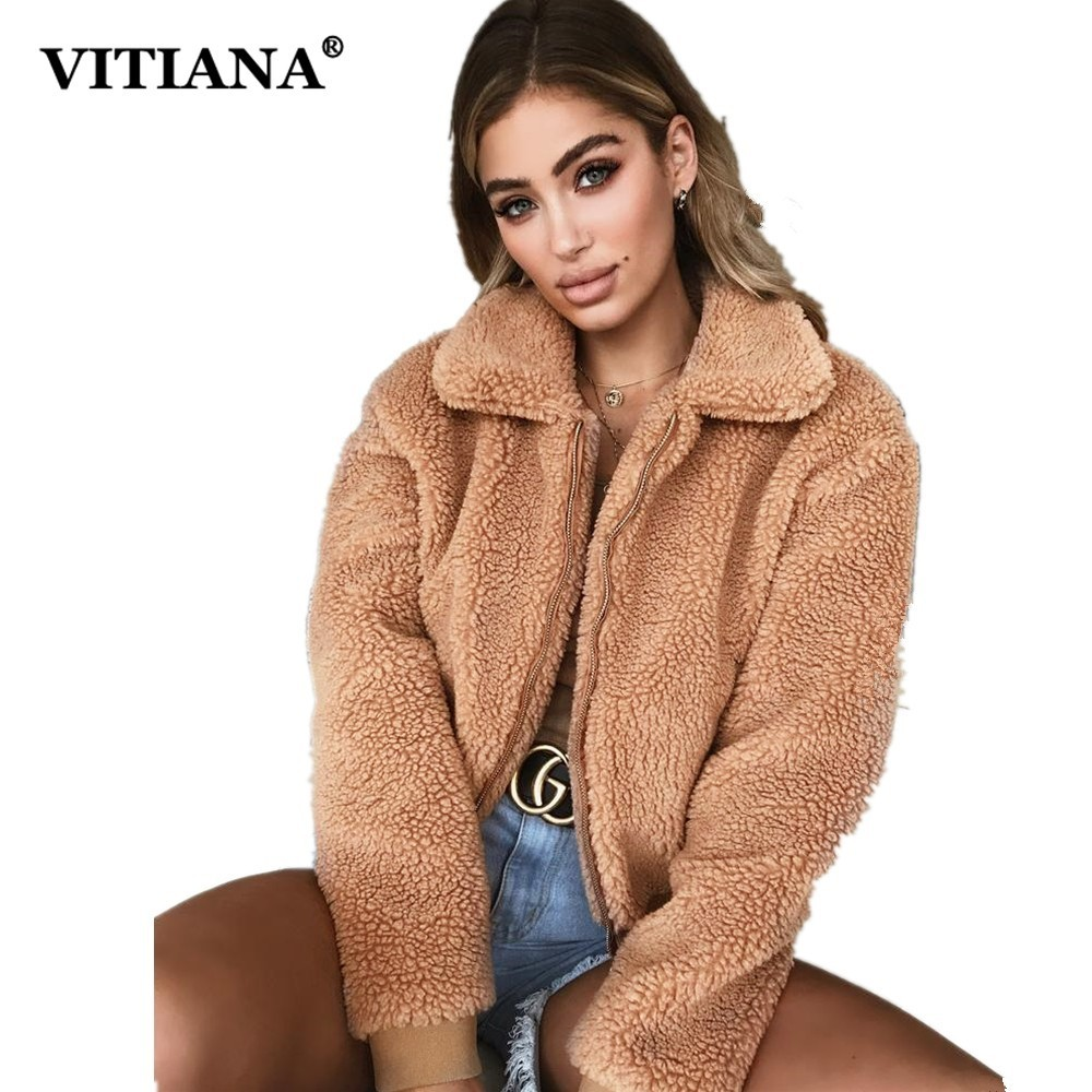 VITIANA Women Casual Faux Fur Coat Female 2018 Autumn Winter Elegant Loose Warm Soft Outwear Zipper Teddy Overcoat Jacket