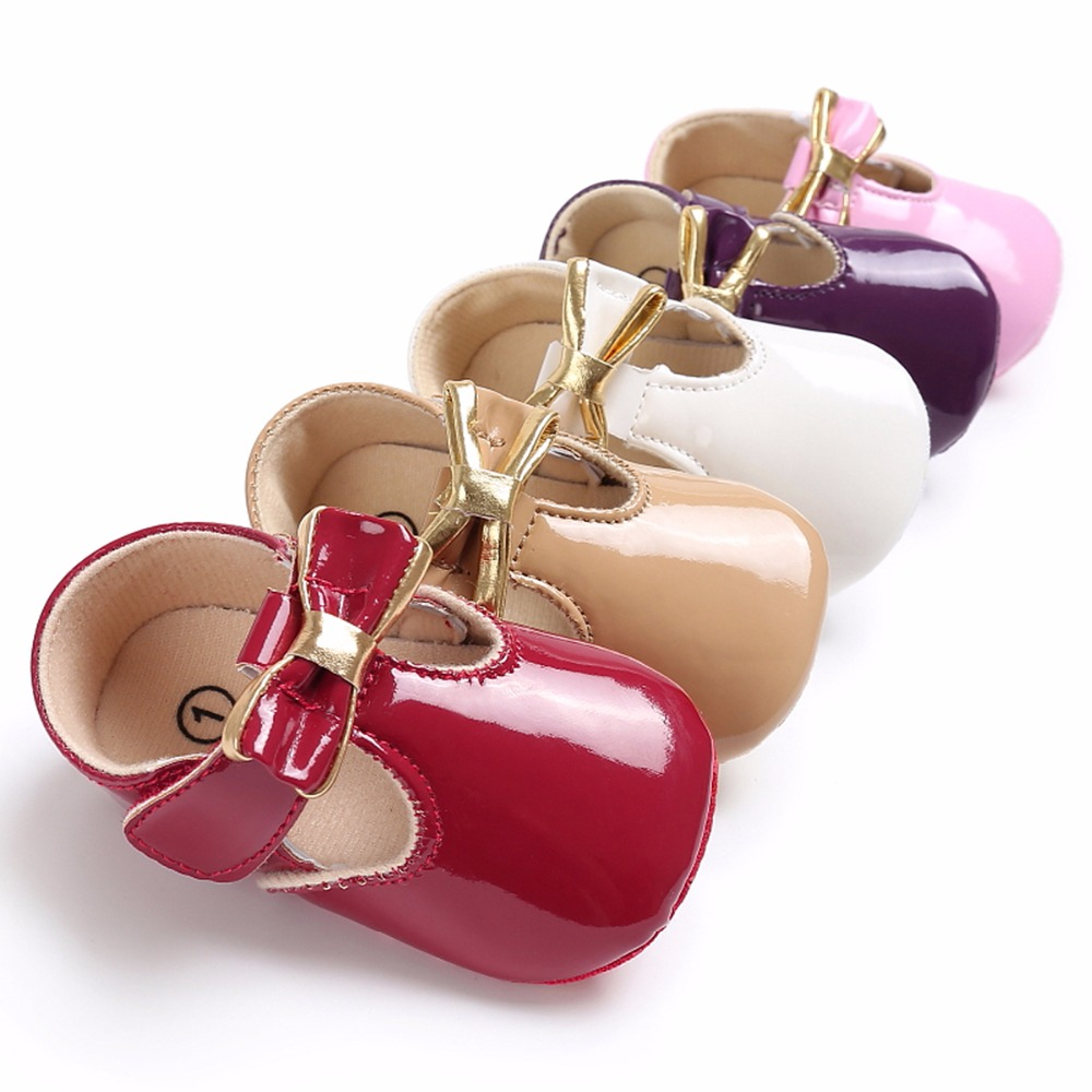 Puseky Sweet Casual Princess Girls Baby Kids Pu Leather Solid Crib Babe Infant Toddler Cute Bow Baby Shoes 5Colors