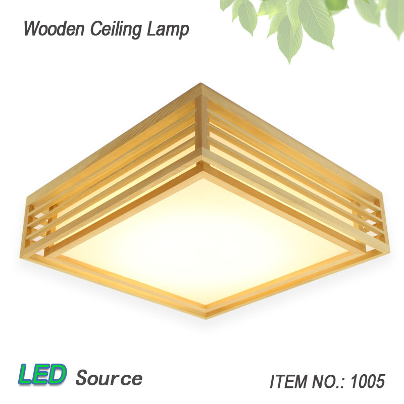 Japanese Style Tatami Wood Ceiling and Pinus Sylvestris Ultrathin LED Lamp Natural Color Square Grid Paper Ceiling Lamp FixtureJapanese Style Tatami Wood Ceiling and Pinus Sylvestris Ultrathin LED Lamp Natural Color Square Grid Paper Ceiling Lamp Fixture