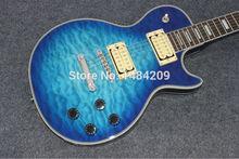 Großhandel-Custom shop Blue wavy top floyd vibrato silber hardware elektrische gitarre freies verschiffen