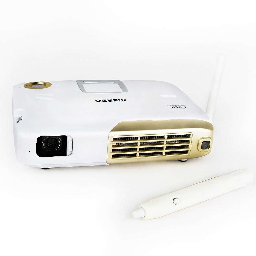 Nierbo 4 К интерактивные Портативный проектор Full 3D школы Android WiFi офиса образования с 15000 мАч Батарея 500 ANSI люмен