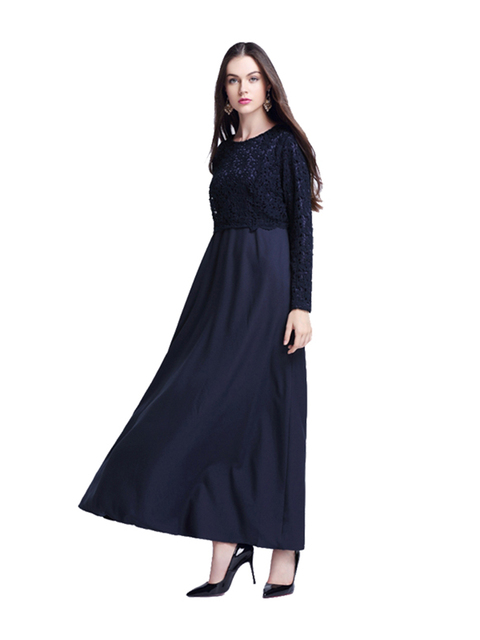 new fashion muslim mock two-piece lace long dress women's top color black green purple pink size M L XL