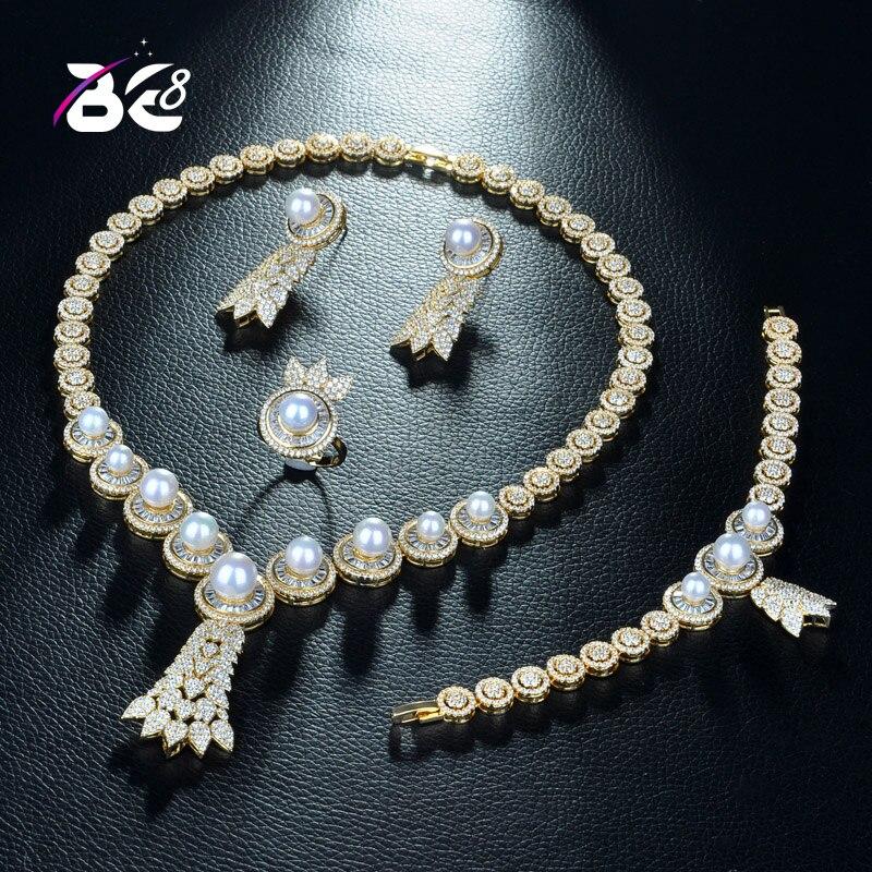 Cz Wedding Sets.Be 8 Brilliant 4 Pcs Earring Necklace Sets Aaa Cz Bridal Wedding Gold Color Jewelry Sets For Women Gift Parure Bijoux Femme S296