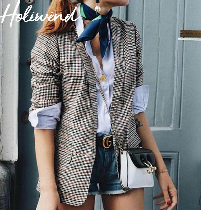 2019 Autumn Women Plaid Blazer Coat Double Breasted Chic Streetwear Blazer Office Lady Elegant Vintage Blazer Jackets