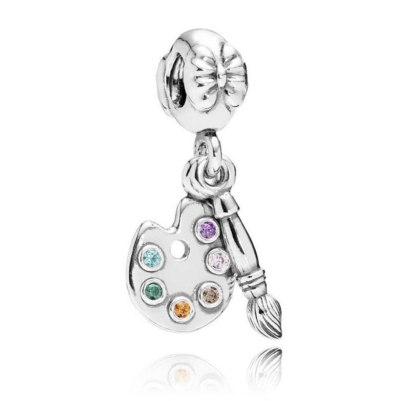Real 925 Sterling Silver Bead Charm Cute Artists Palette With Crystal Pendant Bead Fit Pandora Bracelet Diy Jewelry