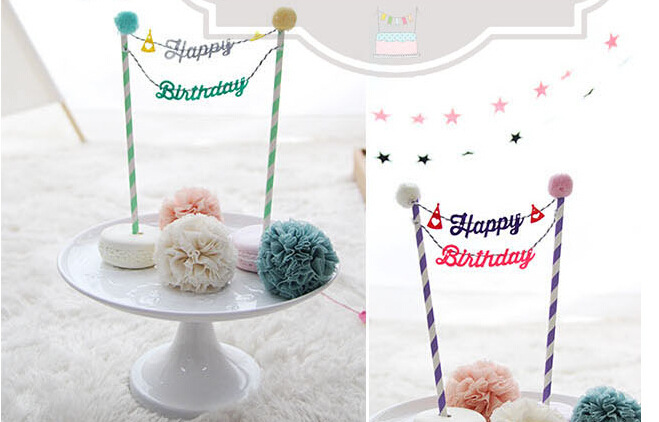 2pcs Creative Cake Bunting Banner Topper Colorful Cloth Small Flags Decoration Kids Baby Birthday Supplies On Aliexpress Alibaba
