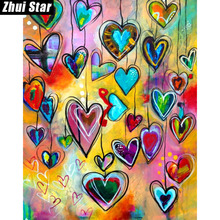 "Zhui Star Full Square Diamond 5D DIY Diamond Painting ""Love Heart"" 3D Embroidery Cross Stitch Mosaic Painting Home Decor BK"