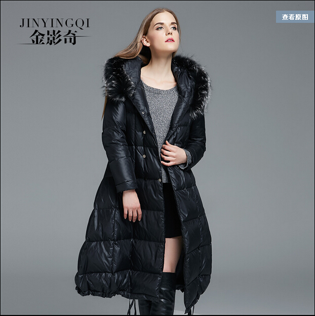 2016 new hot winter Thicken Warm woman Down jacket Coats Parkas Outerwear Luxury Hooded Raccoon Fur collar long plus size 4XXXXL