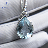 TBJ,Luxury pear shape pendant with good color natural brazil aquamarine gemstone in 925 sterling silver luxury jewelry for women