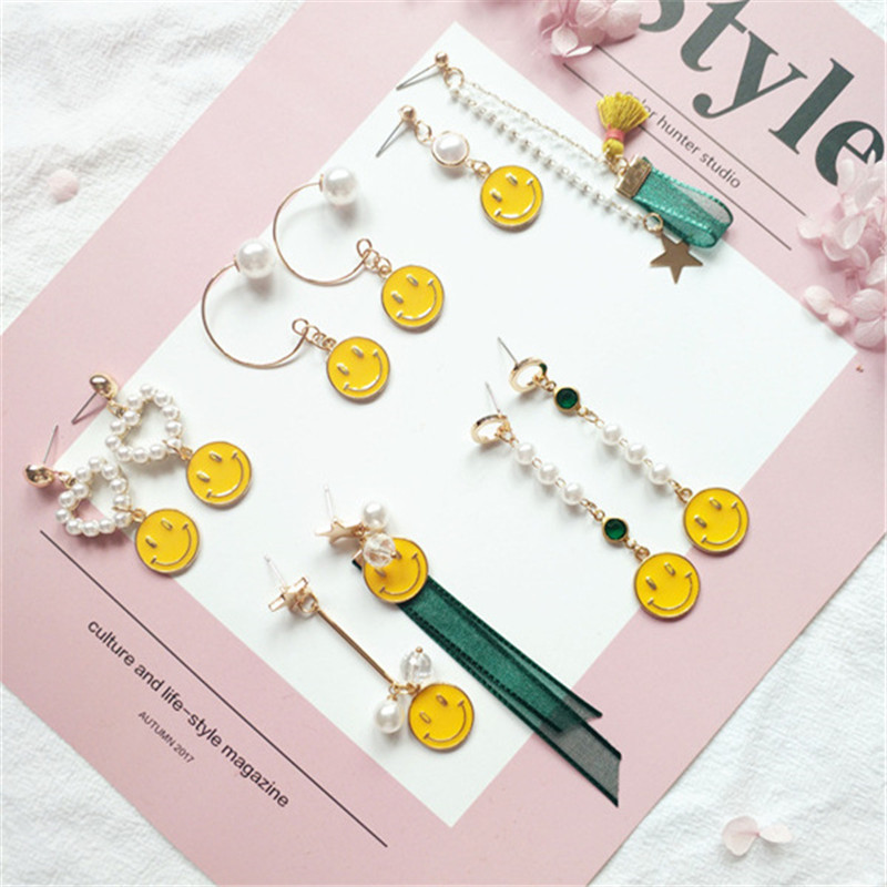 Korea Handmade Cute Yellow Smile Face Imitation Pearl Ribbon Women Drop Earring Fashion Jewelry Accessories-JQD5