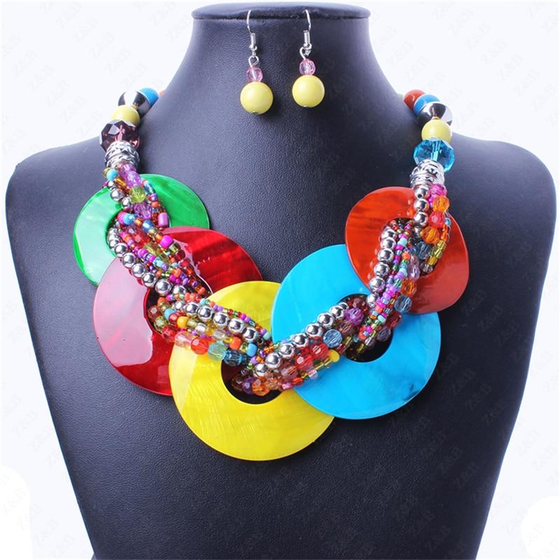 ITHIL Hot Bohemian Style Ball Bead Chain Statement Necklace Women Chunky Jewelry Set Choker parure bijoux femme colar feminino