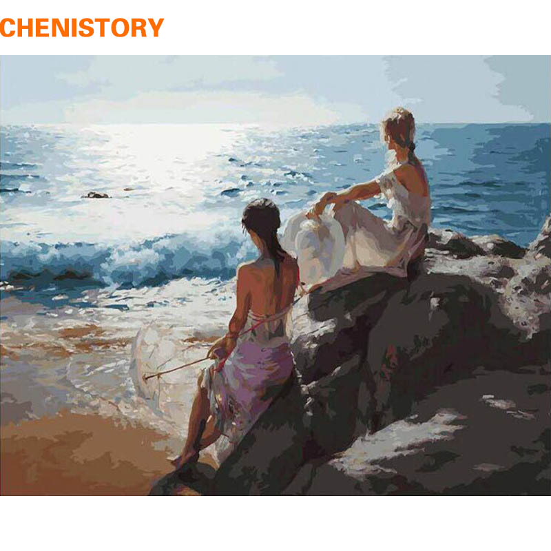 CHENISTORY DIY Painting By Numbers Figure Painting Seascape Modern Wall Art Picture Hand Painted Oil Painting For Home Decor