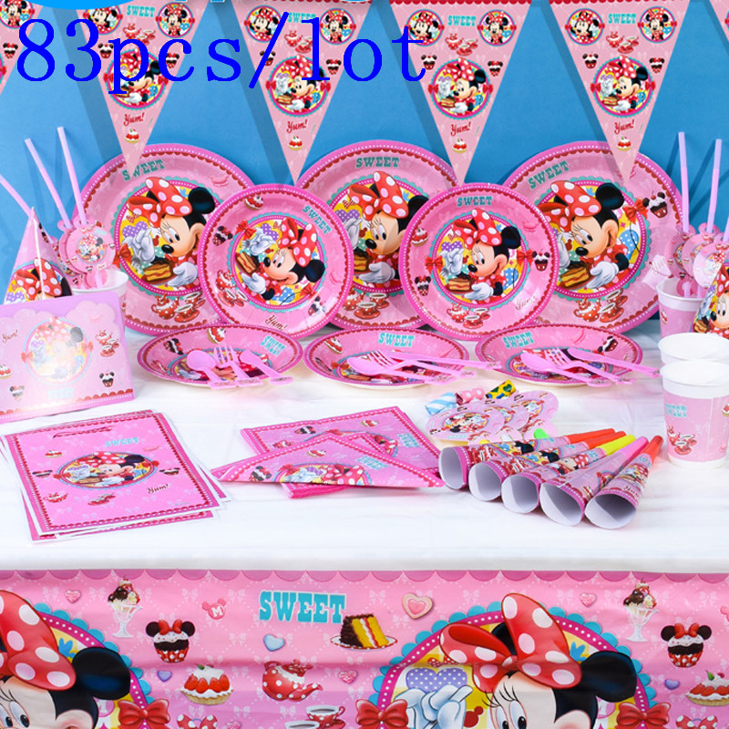 Disney Минни Мышь тема 83 шт./лот чашки + пластина + салфетка + Рог для День рождения подарочный пакет + баннер + соломенная шляпа + скатерть изделия для декорации