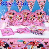 Disney Minnie Mouse Theme 83Pcs/lot Cup+Plate+Napkin+Horn Girl Birthday Party Gift Bag+Banner+Straw+Tablecloth Decoration Supply