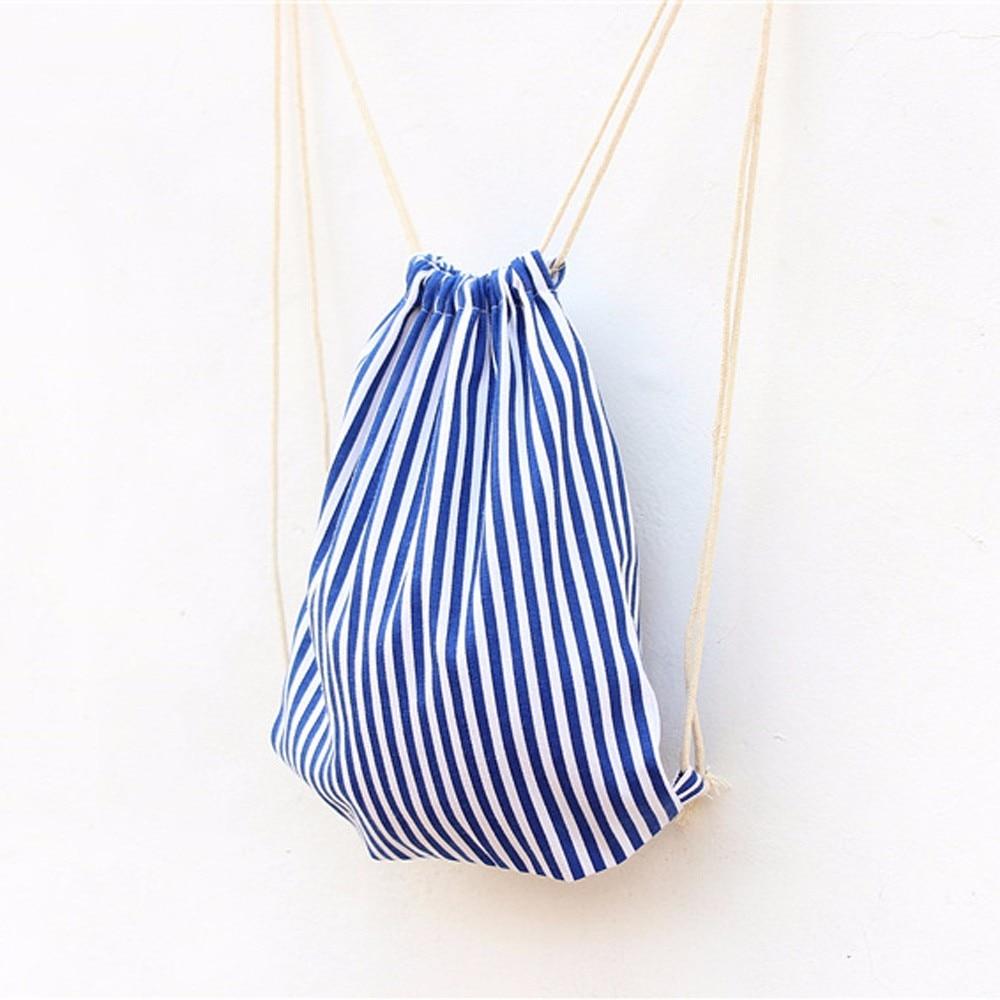 ISHOWTIENDA Drawstring Bag Travel Women Blue And White Stripes Drawstring Backpack Shopping Bag Travel Bag Saco Hombre Bolsa
