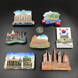 Image 2 - 1Pcs מקרר מגנט מדבקת Creative דובאי ורסאי יוון וינה תיירות מזכרות מקרר מדבקות לעיצוב בית