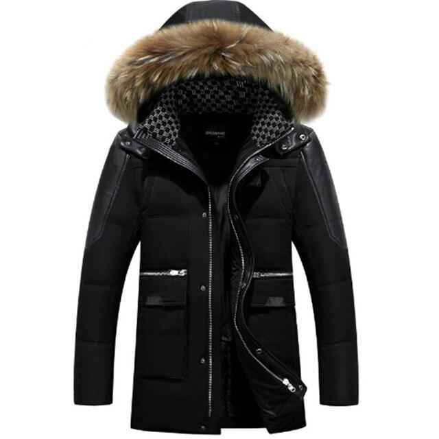 2016 de pato branco para baixo dos homens jaqueta de inverno casuais espessamento quente nagymaros gola do casaco com capuz inverno casaco marca parkas