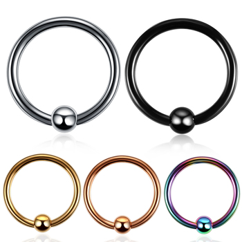 1PC 16G Stainless Steel Nose Piercing Captive Bead Ring Helix Piercing BCR Nose Ring Daith Piercing Body Piercing Jewelry image