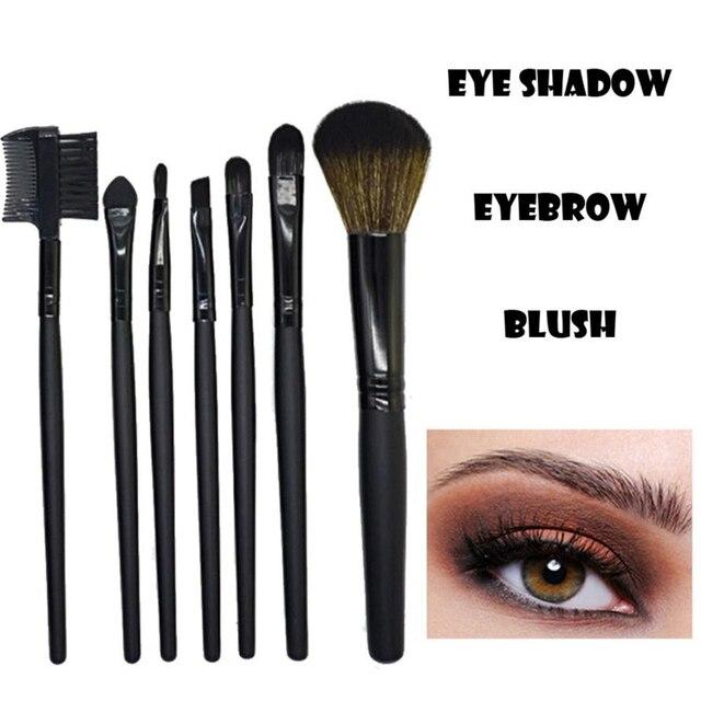 ISHOWTIENDA 7 piezas de madera de pinceles de maquillaje conjunto Kits de cepillos de sombra de ojos cosméticos de maquillaje cepillos herramientas maquiagem pincel