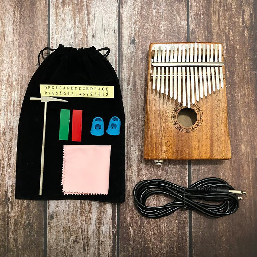 K17M Kalimba 17 key Kalimba Thumb Piano Mbira Mahogany Solid Wood with Carry Bag Tuning Hammer Music Book Stickers 2019 in Piano from Sports Entertainment