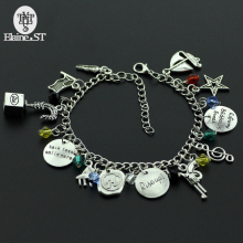 "Hamilton Broadway Musical ""Rise up""Bracelet with Star,Gun,Music Symbol,Leaf Charms Lyrics Hand Stamped Bangle"