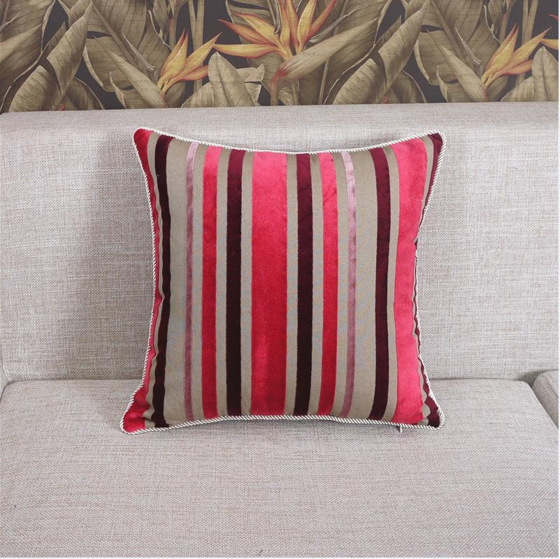 Us 16 69 30 Off Modern Velvet Cushion Covers Decorative Striped Printed Square Pillow Sofa Chair Car Bed Throw Pillowcases 40 60 45 In