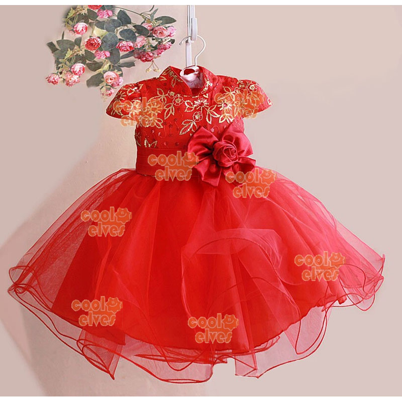 Chinese Wind Flowers Dresses Red New Year Clothes Summer ...