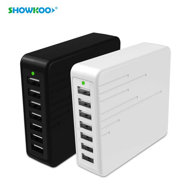 Showkoo multi usb charger eua plug ue 7 portas usb parede Desktop Power Adapter Carregador Portátil Carregador De Viagem USB para o Telefone Inteligente