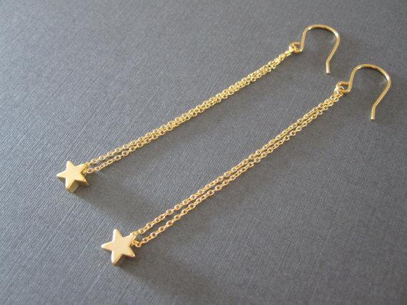 Free Shipping Gold Star Long Chain Earrings