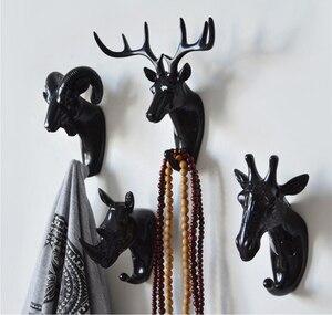 Image 4 - 8 formes Vintage/moderne bois tenture murale crochet vêtements chapeau écharpe clé cerf cornes cintre support décoration murale blanc or noir