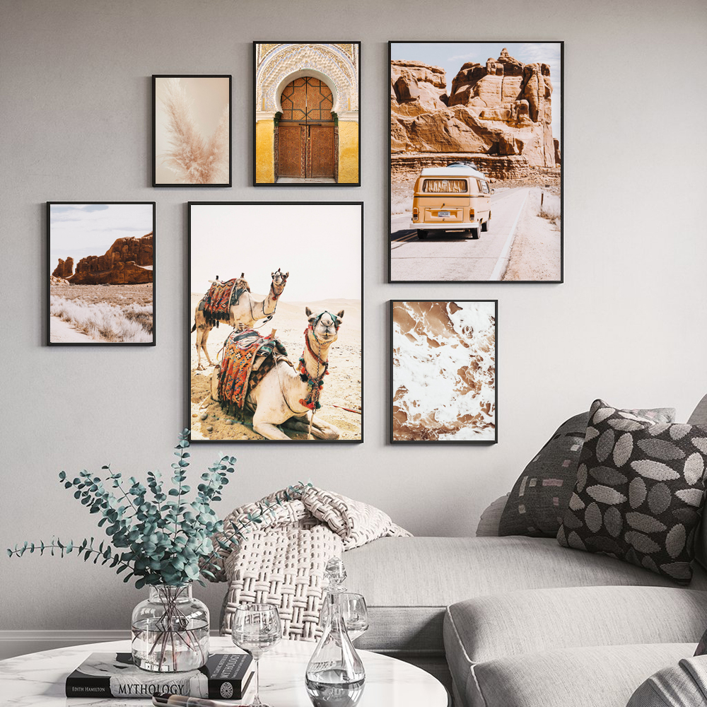 Desert Animal Camel Canvas Prints and Posters Boho California Wall Art Painting Pictures Moroccan Dubai Door Modern Home Decor