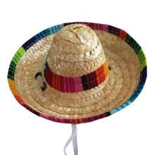 Sombrero de paja Multicolor Sombrero de paja Sombrero mexicano para  mascotas mascota perro gato ajustable hebilla 5db9e17fba3
