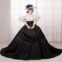 Drop Shipping 2018 Black/White Short Sleeve Medieval Renaissance European Court Party Long Train Dress Stage Show Ball Gowns