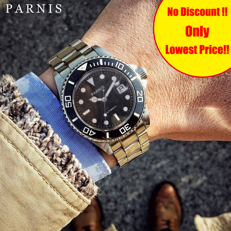 Parnis 40MM Tritium Diving Mens Watches Stainless Steel Mechanical Automatic Men Watch mekanik erkek kol saati Man Clock GiftParnis 40MM Tritium Diving Mens Watches Stainless Steel Mechanical Automatic Men Watch mekanik erkek kol saati Man Clock Gift