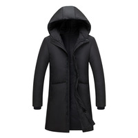 2018 New Winter Down Jacket Men's Long Section Thick White Duck Down Men's Down Jacket Over The Knee Youth Slim Down Jacket.