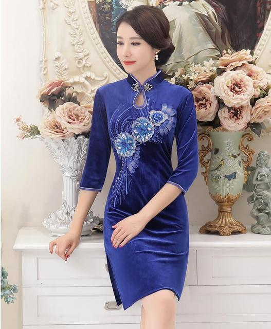 8cbc7954499733 Nowy Przyjazd Kobiet Mini Cheongsam Cheongsam Chińskich Stylu Mody Welurowa  Sukienka Hafty Qipao Vestidos Rozmiar S M L