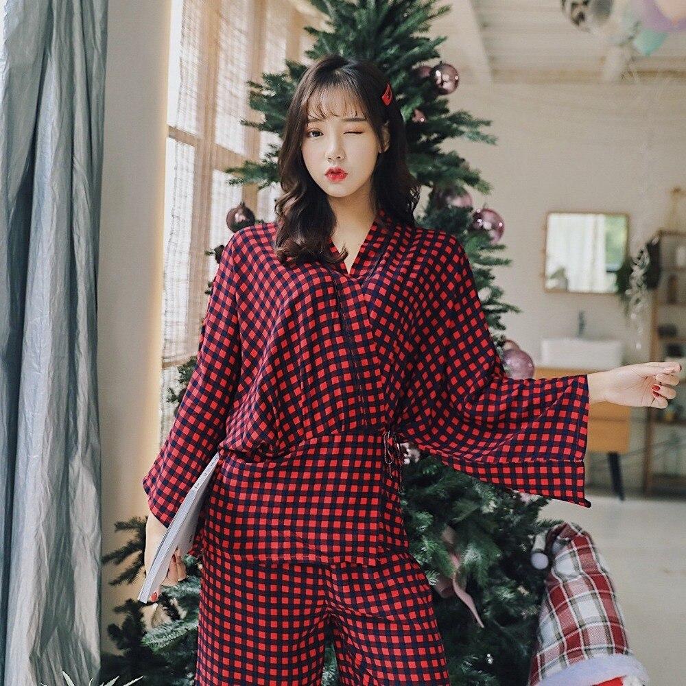 Spring Red Women's Cotton kimono   Pajamas   Mujer Pijama   Sets   Ladies Sweet Plaid Sleepwear Female Girl   Pajama     Sets   Lounge