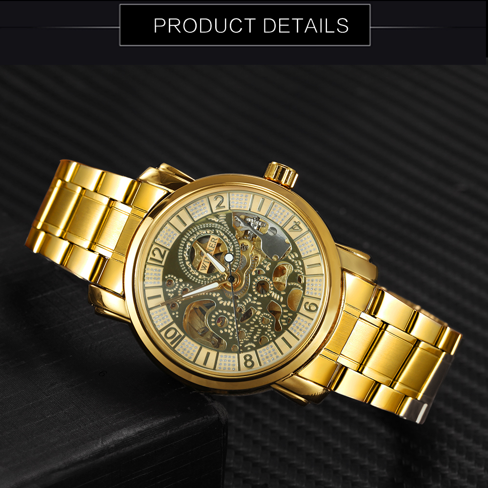 WINNAAR Topmerk Deluxe Vrouw All Golden Automatic Mechanisch horloge - Dameshorloges - Foto 4