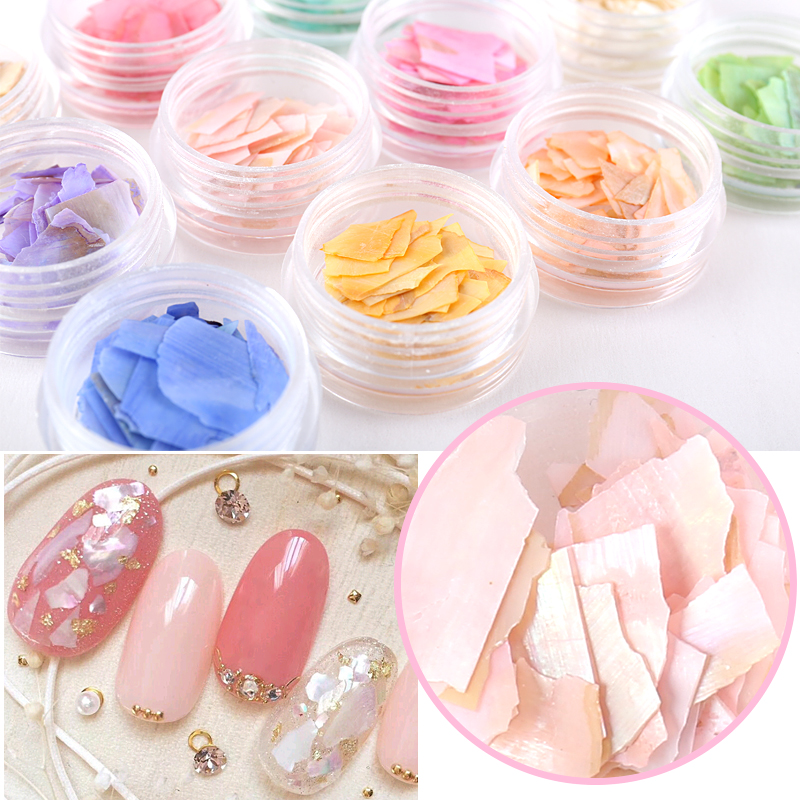 12P/Pack Pearl Light Nail SeaShell Slices Particle Crushed Shell Manicure Set Nail Art Glitter Decoration Tools