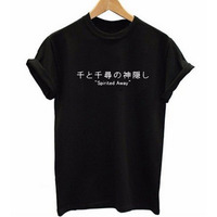 Japanese Letters Print SPirited Away T Shirt Women Tshirt Cotton Short Sleeve Harajuku T Shirt Summer
