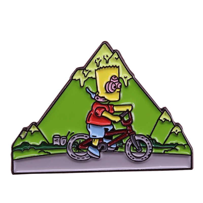 Брошь Барт Симпсон на день велосипеда фитнес упражнения шапка значок для горного