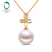 Caimao Jewelry Antique Beautiful Freshwater White Pearl 18k Yellow Gold Anniversary Engagement Pendant Free shipping