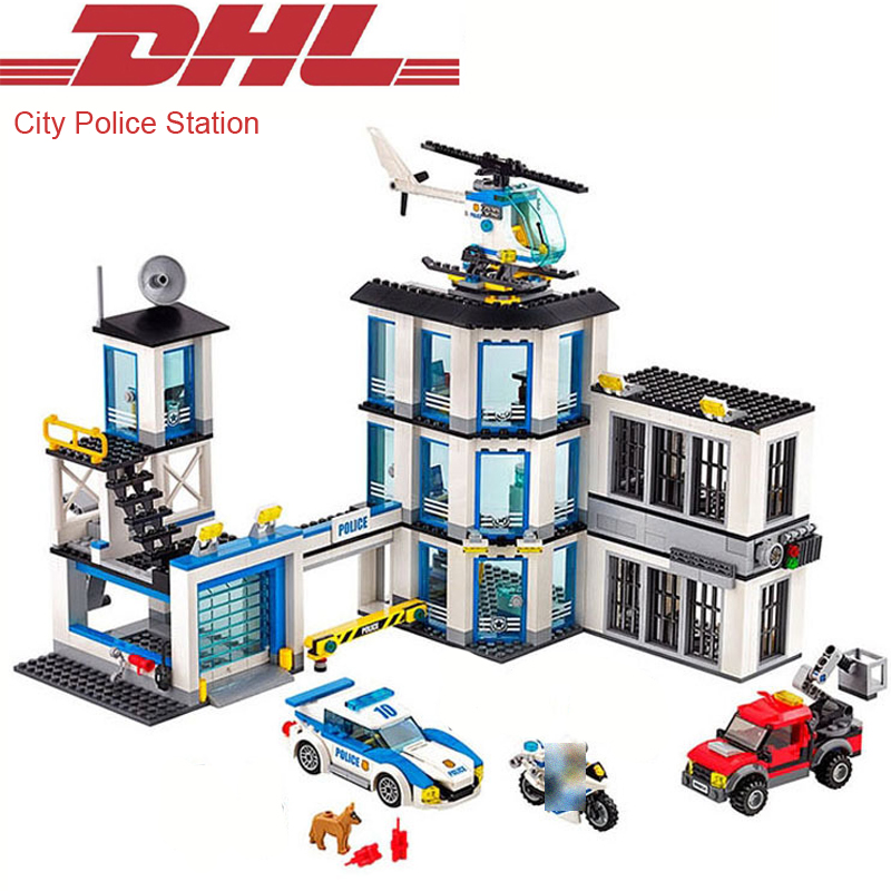 2017 New 965Pcs City Figures Police Station Model Building Kits Blocks Bricks Set Educational Toys For Children Compatible 60141 10646 160pcs city figures fishing boat model building kits blocks diy bricks toys for children gift compatible 60147